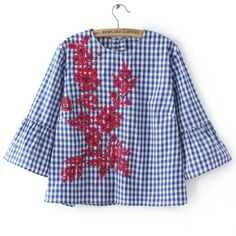 SheIn(sheinside) Gingham Contrast Floral Embroidery Blouse (306.245 IDR) ❤ liked on Polyvore featuring tops, blouses, blusas, shirts, blue, ruffle collar shirt, ruffle sleeve blouse, 3/4 sleeve shirts, embroidered shirts and gingham shirt