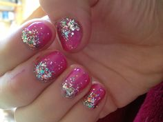 CND shallac  pink nails! With OPI sparkle over top!