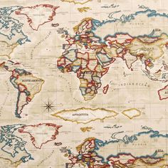 Unusual fabric depicting a world map made from 100 cotton this atlas fabric gumiabroncs Image collections