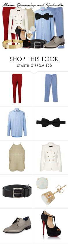"""Prince Charming and Cinderella Genderbent"" by fabulousgurl ❤ liked on Polyvore featuring Boohoo, Lacoste, Barba, Lanvin, Miss Selfridge, Balmain, MANGO MAN, Gioelli, Salvatore Ferragamo and Christian Louboutin"