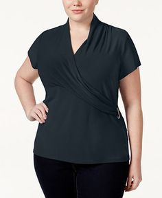Charter Club Plus Size Crossover Wrap Top, Only at Macy's - Plus Size Dressy Tops - SLP - Macy's
