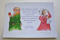 Jane Austen, 'Pride & Prejudice' literary illustration print: Mr and Mrs Bennet