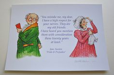 Jane Austen certainly knows how to show the funny side of married life! ~ from Pride & Prejudice ~ BlueSkyInking on Etsy,