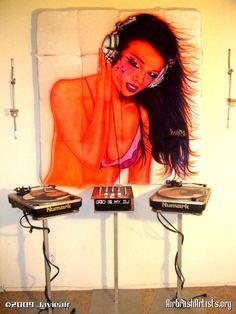 "DJ Javieair: ""Dj Girl"". #djculture #musicart http://www.pinterest.com/TheHitman14/dj-culture-vinyl-fantasy/"
