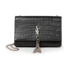 monogram medium crocodile-embossed leather tassel shoulder bag by Saint Laurent. Crocodile-embossed leather lends luxe texture to this classic flap design, its front detailed with the YSL insignia a...