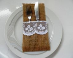 Burlap Silverware Holders with white lace - Rustic table decor