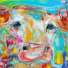 Original oil painting Cow 6x6 palette knife by Karensfineart