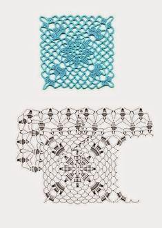 Die Motive - Ксения - Álbuns da web do Picasa Crochet Motif Patterns, Crochet Blocks, Square Patterns, Crochet Diagram, Crochet Squares, Crochet Chart, Crochet Granny, Irish Crochet, Stitch Patterns