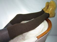 Thick Warm Leg Warmers Brown / Black Boots SOCKS Over The Knee Thigh Highs Legwarmers A1791