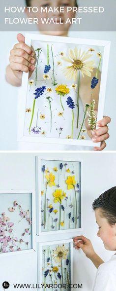 Pressed Flower Art-Press Flowers In 3 Minutes - Mother's Day Gift Ideas - Mother's Day Craft Ideas Mothers Day Crafts, Crafts For Kids, Arts And Crafts, Kids Diy, Easy Crafts, Easy Diy, Art Floral, Rena, Pressed Flower Art