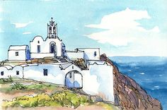 Sifnos Greece art print from original watercolor painting