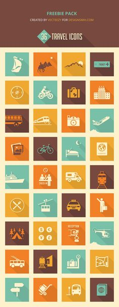 #free #vector icon set for travel