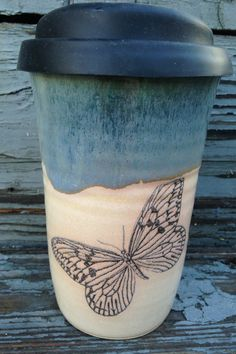 Ceramic Travel Mug, Ceramic Butterfly Travel Mug, Travel Mug, Ceramic Coffee Travel Mug, Handmade by RuthiesPottery by RuthiesPottery on Etsy