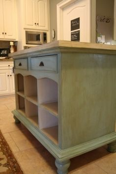 Kitchen Island- From an old buffet. Remove the doors or drawers for open shelving for pots and pans.