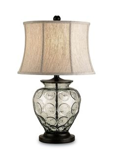 PRODUCT NAME: Vetro Table Lamp DIMENSIONS: 25h x 15w NUMBER OF LIGHTS: 1 SHADES: Oatmeal Linen MATERIAL: Metal/Glass FINISH: Bronze/Recycled...