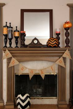 DIY burlap thanksgiving banner. Simple and cute. Walmart has burlap for $3 a yard.. plenty for this and some other decorations.