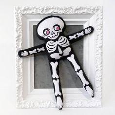 Soft Minky Skeleton Doll - Black