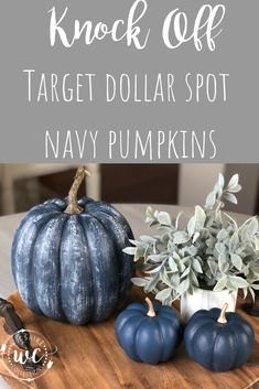 Diy fall crafts 551128073145872838 - Knock off Target dollar spot pumpkins using navy paint and dollar tree pumpkins for an easy fall craft and DIY project Source by thewilshireway Target Dollar Spot, Dollar Tree Pumpkins, Dollar Tree Crafts, Dollar Tree Fall, Easy Fall Crafts, Diy Crafts, Homemade Crafts, Felt Crafts, Decoration Bedroom