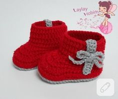 kırmızı örgü bebek patiği yapılışı