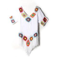 Flower Crochet Fringe Cover Up (28 BAM) ❤ liked on Polyvore featuring swimwear, cover-ups, crochet cover ups, crochet beach cover up, crochet swim cover up, swim cover up and cover up swimwear