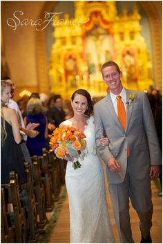 Hyatt_ Mission_Bay_Wedding ~SARA FRANCE PHOTOGRAPHY~Bride and Groom. Just Married. Chapel Wedding. Orange Theme. Colors. Floral .Bouquet. Wedding Dress. Suit and Tie.