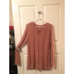 Pink fuzzy sweater Peach/pink colored sweater with very soft fuzzy material! In great condition. Never worn! Sweaters V-Necks
