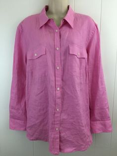 Lauren Ralph Lauren Women's Plus 2X Top #PinkLinen Roll Slv Button Shirt Pockets #LaurenRalphLauren #ButtonDownShirt