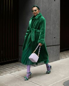 Blair Eadie wearing an emerald green faux fur coat, green dress, green heels, vintage green sunglasses, and a green headband // Click through for the full outfit details on Atlantic-Pacific // Fashion Week, Look Fashion, Winter Fashion, Fashion Outfits, Street Style Chic, Looks Style, My Style, Atlantic Pacific, Winter Mode