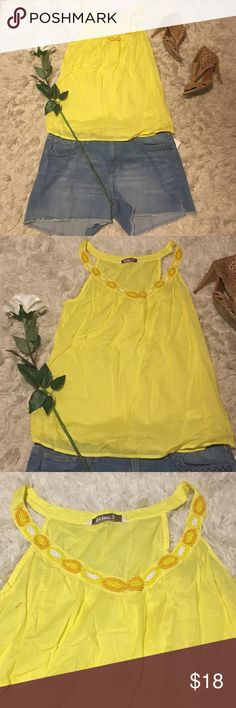 Yellow Beaded Summer Tank 🌻 Yellow cotton Old Navy summer Tank with orange and yellow beaded neckline. Made in India! Size medium! Tops Blouses