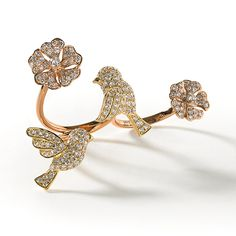 de Boulle Collection Blossoms and Bird Double Ring Pink Jewelry, Jewelry Tree, Fashion Jewelry Necklaces, Girls Jewelry, Fashion Rings, Diamond Jewelry, Jewelery, Unique Jewelry, Silver Jewelry