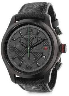 d0467c7c7b25 Gucci G-Timeless Stainless Steel Chronograph Watch Black Fabric