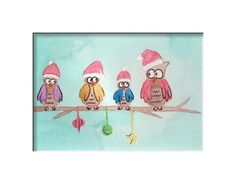 Original watercolor Owl Family Christmas Card by MilkFoam on Etsy, $10.00