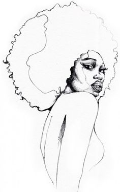 Free for personal use Afro Girl Drawing of your choice Black Girl Art, Black Women Art, Black Art, African American Art, African Art, Outline Drawings, Art Drawings, Afro Tattoo, Tattoos