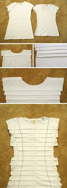 DIY Choker Dress from T-Shirt- diy customization of white t-shirt with pleats Diy Clothing, Sewing Clothes, Clothing Patterns, Dress Patterns, Shirt Refashion, T Shirt Diy, Old T Shirts, Cut Shirts, Diy Choker
