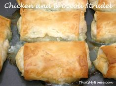 Tender pieces of moist chicken with broccoli in gravy wrapped in filo dough. Chicken and Broccoli Strudel is a great make ahead dish.