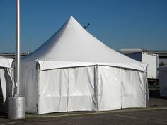 Our Tension Top tents are popular because of their high swooping peaks.  These are most commonly used at parties, but they are an excellent option for any type of event.  Tension tops are anchored at the base of each leg, meaning there are no guy ropes with which to contend around the perimeter; the center pole is elevated and out of the way.  We designed and fabricated our Tension Top tents to incorporate our very popular Unique™ framework.
