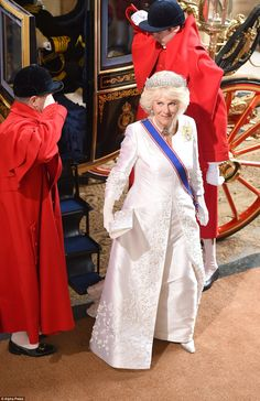 Dressed in white, Camilla wore the glittering Greville tiara, on loan from the Queen who w...