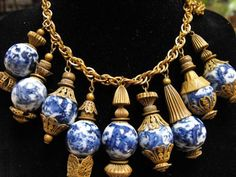 Antique chinese blue Willow necklace