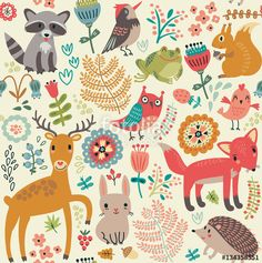 Vektor: Seamless pattern, animals in the forest
