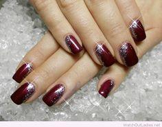 Burgundy and silver Christmas nail art