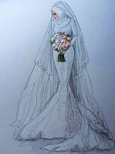 Wedding veils beautiful ideas for 2019 Fashion Moda, Hijab Fashion, Fashion Art, Fashion Dresses, Hijab Drawing, Dress Drawing, Fashion Design Drawings, Fashion Sketches, Wedding Dress Sketches