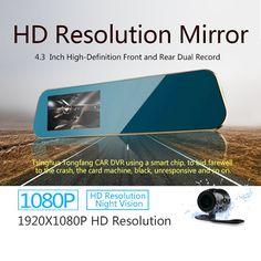 Full HD 1080P Car DVR Mirror Digital Video Recorder Auto Car Dvrs Dual Cameras Rearview Monitor night vision Rear Camera 720P