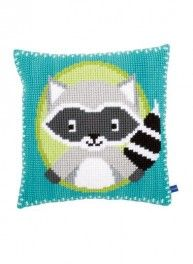 Raccoon cross-stitch cushion kit, 40 cm x 40 cm, Bergère de France
