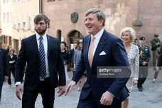 King Willem-Alexander of the Netherlands on the way to Albrecht Duerer's House on April 14, 2016 in Nuremberg, Germany. King Willem-Alexander and Queen Maxima are on a two-day visit in Bavaria to strengthen the relationship between Bavaria and the Netherlands.