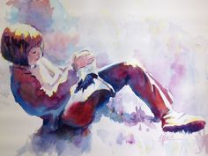 """Bubblegum"" watercolor by Colleen Reynolds."