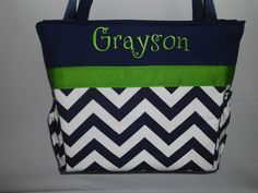 CHEVRON  in NAVY  .. Green Accents  ...   Diaper Bag ... Bottle Pockets ... Monogrammed  FReE. $52.99, via Etsy.