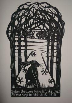 'In the stillness' hand drawn hand cut papercut