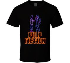 Pulp Fiction t-shirt Travolta Thurman Disco Dance scene cool neon sign look Tarantino film t-shirts