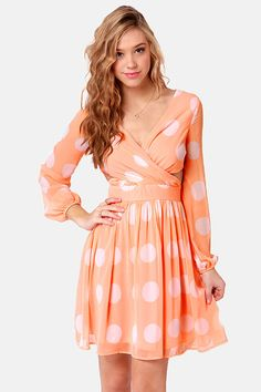Cute Peach Dress - Polka Dot Dress - Long Sleeve Dress - Cutout Dress - $46.00