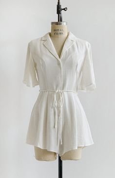 52ba12ca1e86f9 Inspired by the 1940s, this feminine and classic vintage inspired romper in  soft cotton linen